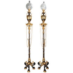 Charming Pair of Neo-Pompeian Lamps by F. Barbedienne