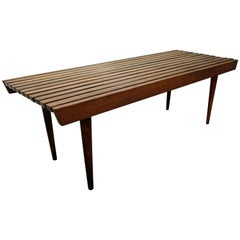 Midcentury Danish Modern Walnut Slat Bench Coffee Table