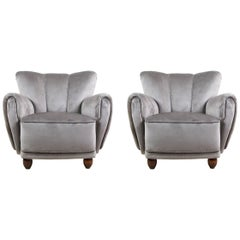Pair of Shell Back Mid-Century Modern Armchairs in the Style of Art Deco