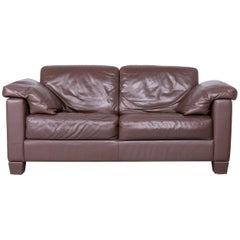 De Sede DS 17 Designer Leather Sofa Brown Two-Seat Couch