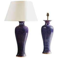 Pair of Large Art Nouveau Flambé Lamps