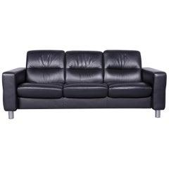 Ekornes Stressless Relax Sofa Black Leather TV Recliner Three-Seat