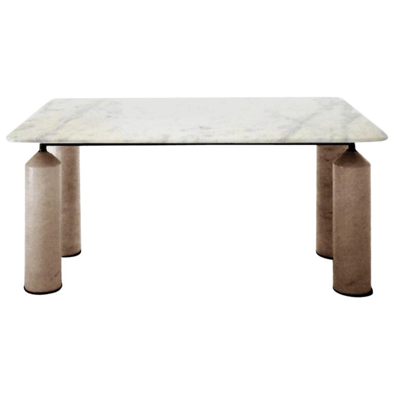 1981 Square White Marble and Travertine Dining Table, Sormani, Italy