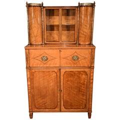 Fine Regency Satinwood Secretaire Cabinet