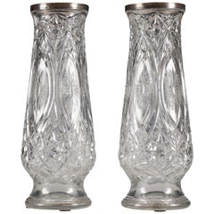 Beautiful Pair of Crystal Vases Attributed to Baccarat