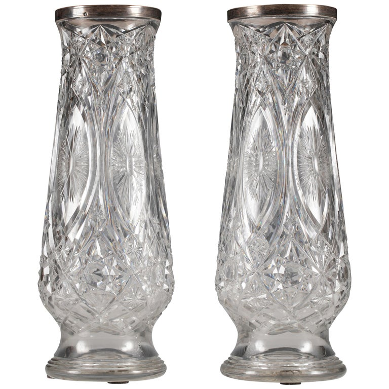 Beautiful Pair Of Crystal Vases Attributed To Baccarat For Sale At