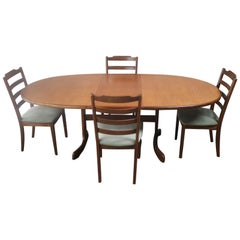 1970s Mid-Century Modern Large G Plan Dining Table and Chairs