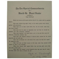 Clyde Tombaugh Autograph on Ten Special Commandments for a Would-Be Planet Hunte