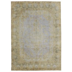 Distressed Vintage Turkish Rug with Rustic Industrial Style and Soft Colors