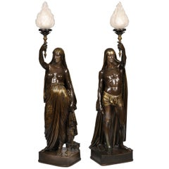 19th Century Pair of Bronze Torcheres of Two Indians in the Orientalist Manner
