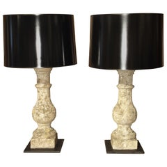 Pair of Antique French Re-Constituted Stone Baluster Lamps