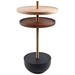 Swivel Table, Adjustable Wood and Brass Side Table by Pat Kim
