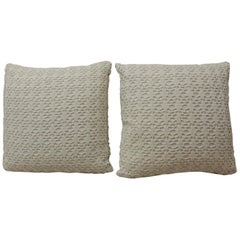 CLOSE OUT SALE: Pair of Vintage Crochet White on White Decorative Pillows