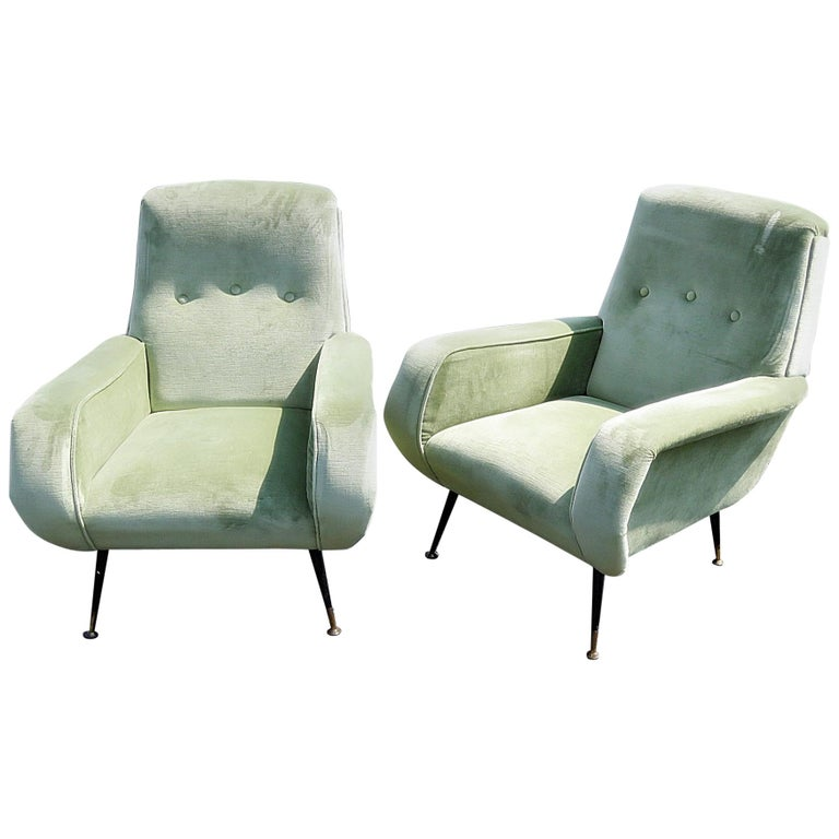 Pair of Marco Zanuso Style Lounge Chairs