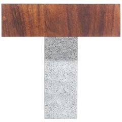 "Contemporary Side Table ""Tee"", made of Brazilian Imbuia Wood and Stone"