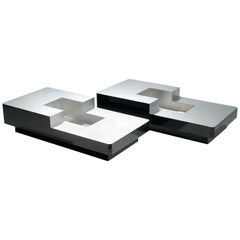 Rare Pair of Willy Rizzo Lacquer Coffee Tables, 1970s