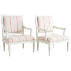 Pair of Louis XVI Style Painted Fauteuil Armchairs