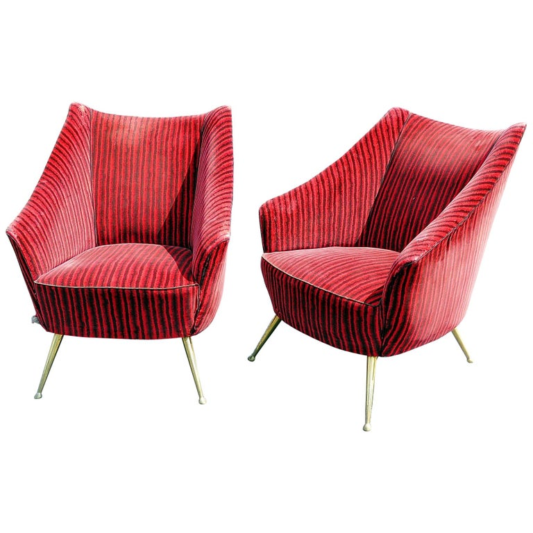 Pair of Gio Ponti Style Lounge Chairs