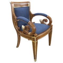 Gianni Versace Vanitas Carved Armchair with a Scrolling Arm and Gilt Details