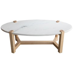 Pierce Coffee Table, White Marble, Oval, Ash Hardwood