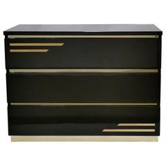 Dark Brown Lacquer and Brass Chest of Drawers by J.C. Mahey, 1970s
