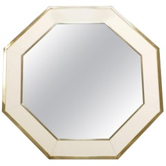 Octagon Shaped J.C. Mahey Mirror in White Lacquer and Brass, 1970