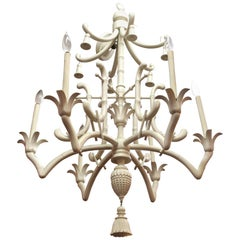 Hollywood Regency Faux Bamboo Chandelier