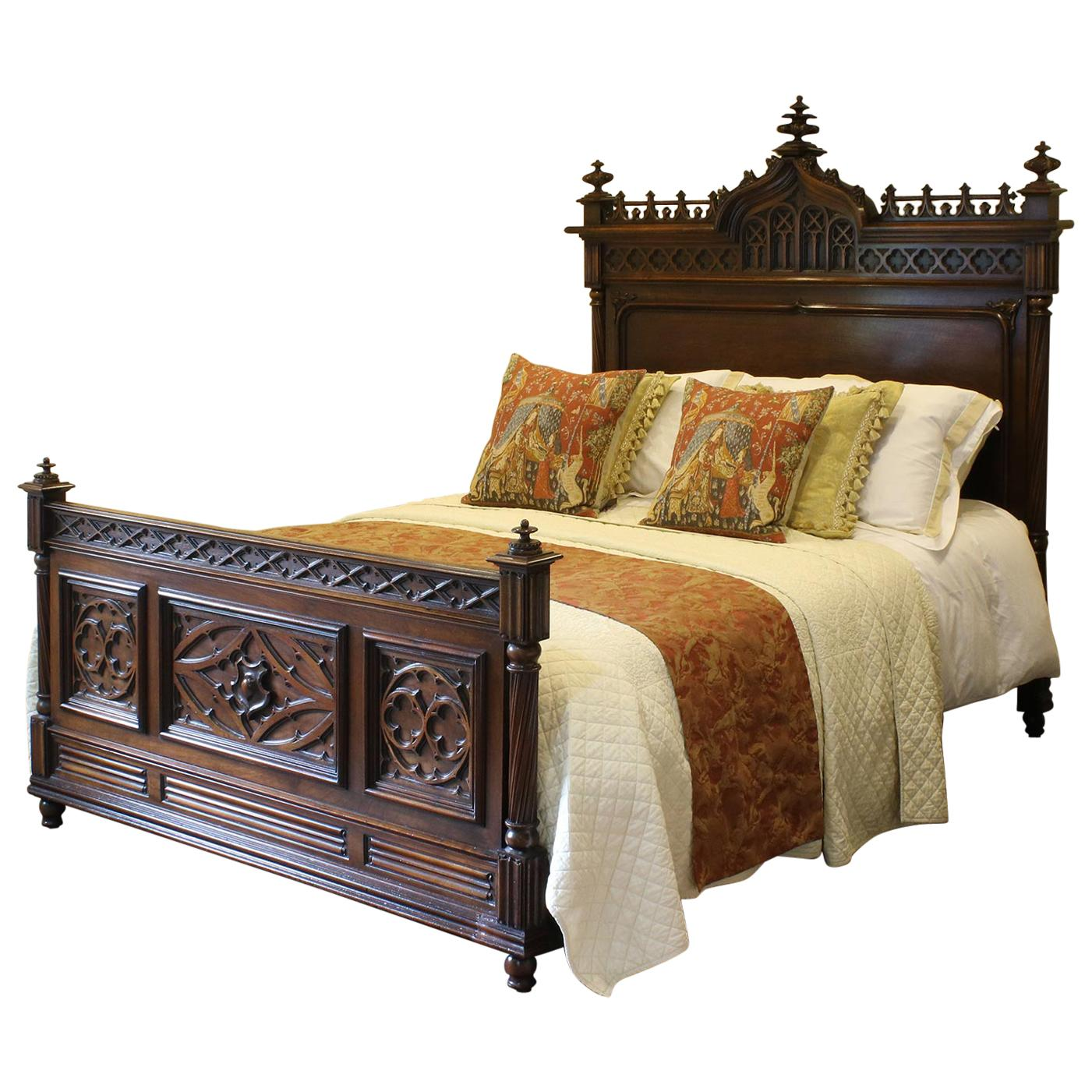 Gothic Style Antique Bed In Walnut, WK102 For Sale