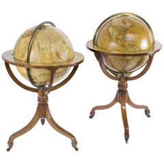 Newton & Sons Late George III Terrestrial and Celestial Mahogany Library Globes