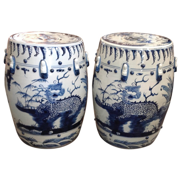 Unusual Pair of Blue and White Garden Seats