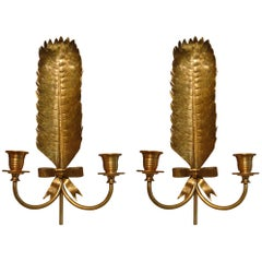 Pair of Feather Gilt Brass Sconces Attributed to Maison Jansen