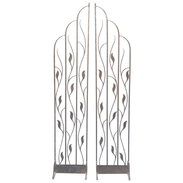 Pair of Art Deco Wrought Iron Room Dividers For Sale