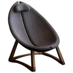 Minas, Contemporary Organic Oval Shaped Armchair in Wool with Walnut Frame