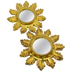 Pair of Petite Starburst Sunburst Gilded Wood and Composition Mirror, France