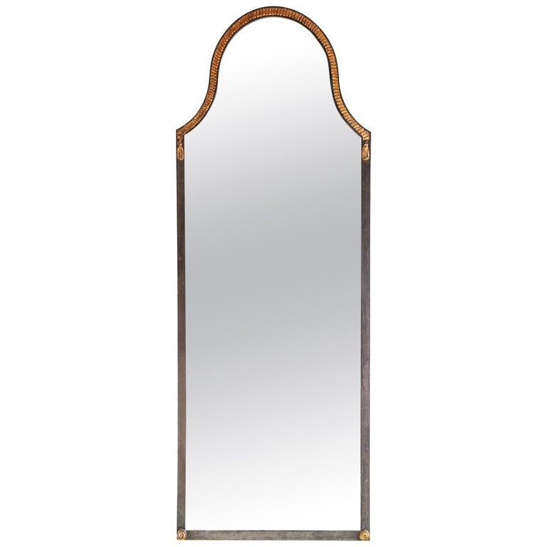 Narrow Iron Mirror with Gilt Rope Detail For Sale