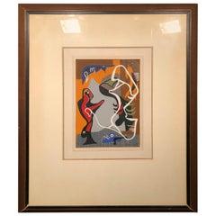 Gio Colluccio 1947 Modern Abstract Acrylic Painting on Cardboard