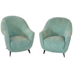 Mid-Century Modern Pair of Italian Club Chairs