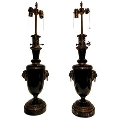 Fine Pair of French Empire Style Black Porcelain & Bronze Mounted Table Lamps