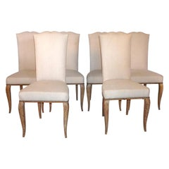 20th Century Set of Six French Oak Dining Chairs