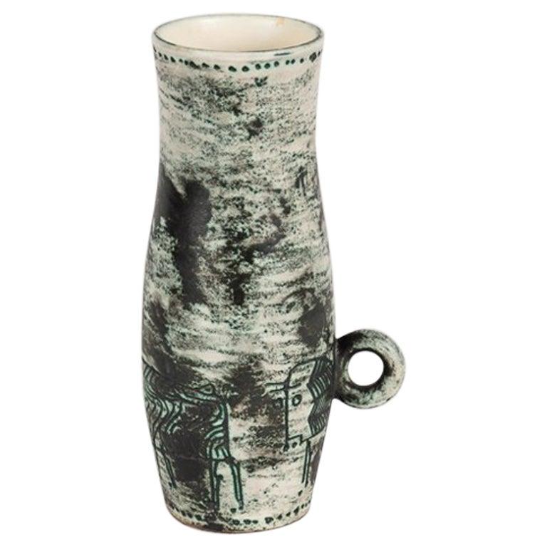 Jacques Blin, Blue Ceramic Vase, France, Mid-century