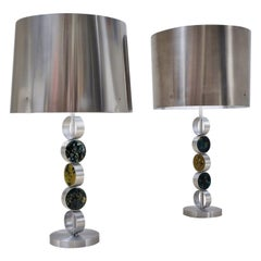 RAAK Table Lamps, Large Complementary Pair, Aluminium, Steel & Glass, 1972 Dutch