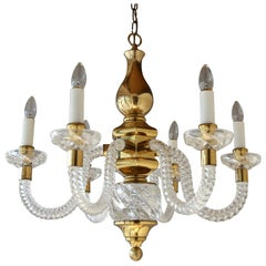 Vintage Chandelier with Spiral Glass Arms and Brass Accents