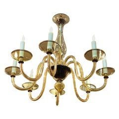 Hollywood Regency Murano Glass Chandelier with Eight Arms in Light Amber
