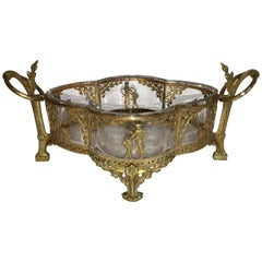 Wonderful French Empire Ormolu Bronze Mounted Crystal Glass Centerpiece Bowl