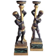 Pair of Italian Carved Blackamoor Lamp or Candlestick Bases