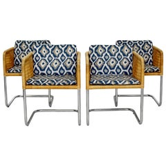 Mid-Century Modern Harvey Probber Four Wicker Chrome Cantilever Bucket Chairs