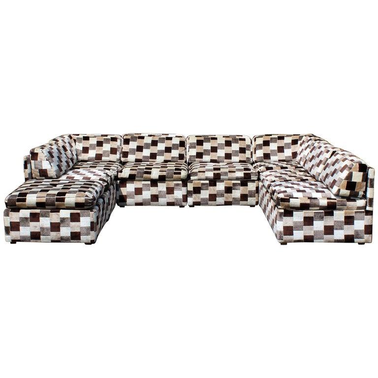 Mid-Century Modern Baughman Lenor Larsen Style Modular Sectional Sofa, 1970s