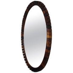 Striking Mid-Century Modern Oval Mirror in Handcrafted Macassar Wooden Frame