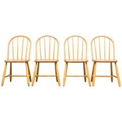 Set of Four Thonet Inspired Natural Blonde Spindle Back Chairs
