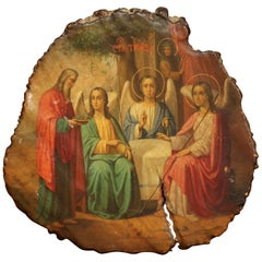 19th Century Russian Painted Icon with God Abraham and Three Angels 'Genesis 18'